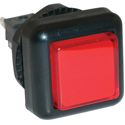 Small Square VLT Pushbutton, Red - 77-2000-40 - Item Photo