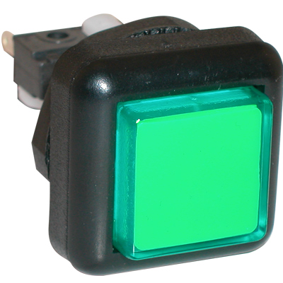 Green Small Square VLT Pushbutton #86 - 77-2000-43 - Item Photo
