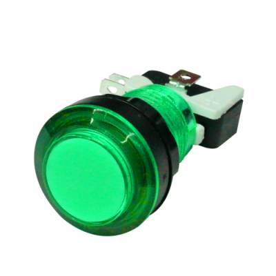 LED LIT GREEN PUSHBUTTON 12v LED W/LAMPHOLDER .187 SWITCH - 75-0035-W187 - Item Photo