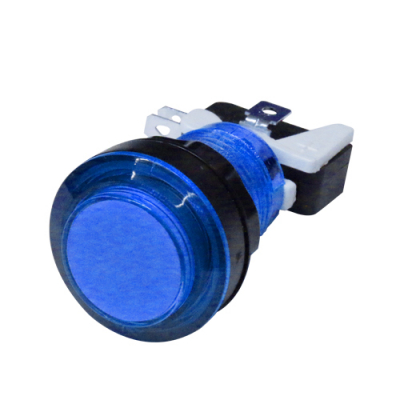 LED LIT BLUE PUSHBUTTON 12v LED W/LAMPHOLDER .187 SWITCH - 75-0036-W187 - Item Photo