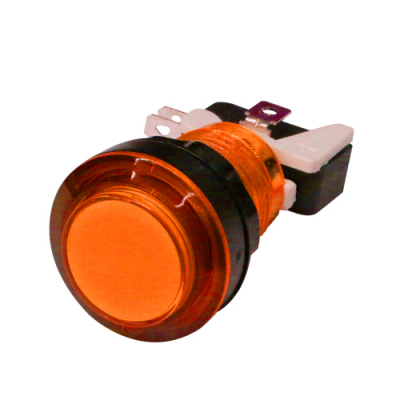 LED LIT ORANGE PUSHBUTTON 12v LED W/LAMPHOLDER .187 SWITCH - 75-0042-W187 - Item Photo