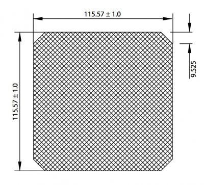 Replacement Fan Filters - 80-0485-10 - Dimensional View