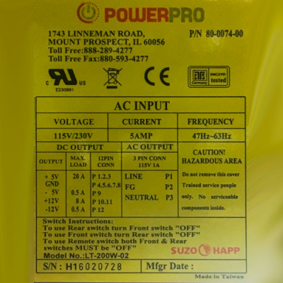 400W Power Pro power supply for Atronic, Cadillac jack & Golden Tee - 80-0704-00 - Item Photo