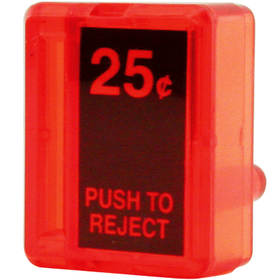 Reject Button, Red $0.25 Insert for Wells Gardner / Coin Controls - 891-1113-01 - Item Photo