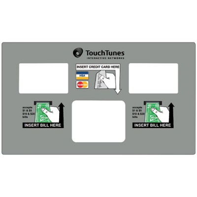 TouchTunes Lexan US Payment Decal with 2 bill validators & 1 card reader for Ovation II - 900264-002 - Item Photo