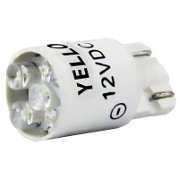 91-10WB-123Y - 12V Yellow Cluster LED T3-1/4 Wedge Base