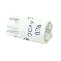91-10WB-53R - 5V Red Cluster LED T3-1/4 Wedge Base