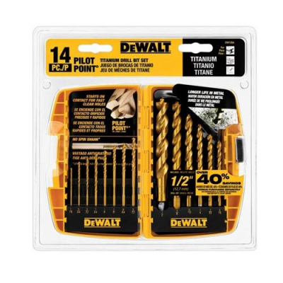 DeWalt Drill Bit Set. Titanium 14 Piece Pilot Point Set - 92-2559-00 - Item Photo