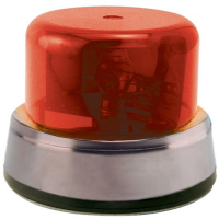 95-0115-10IC - Rotary Beacon Light Assembly, Red Dome & Chrome Ring with Inner Mounting Plate