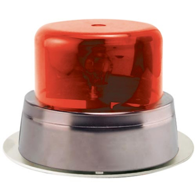 Rotary Beacon Light Assembly With Red Dome, Chrome Ring & Outer Mounting Plate - 95-0115-10UC - Item Photo
