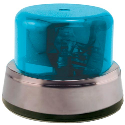 Rotary Beacon Light Assembly, Blue Dome & Chrome Ring with Inner Mounting Plate - 95-0115-12IC - Item Photo
