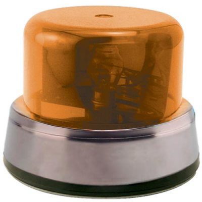 Rotary Beacon Light Assembly Amber Dome with Chrome Ring with Inner Mounting Plate - 95-0115-17IC - Item Photo