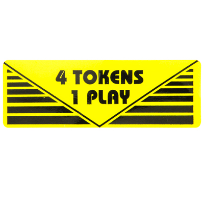 "Pay Per Play Label ""4 Token 1 Play"" - 95-0723-4T - Item Photo"