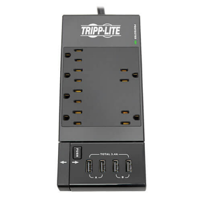 TrippLite 6-Outlet Surge Protector with 4 Port Retractable USB Charger - 80-0559-00 - Item Photo