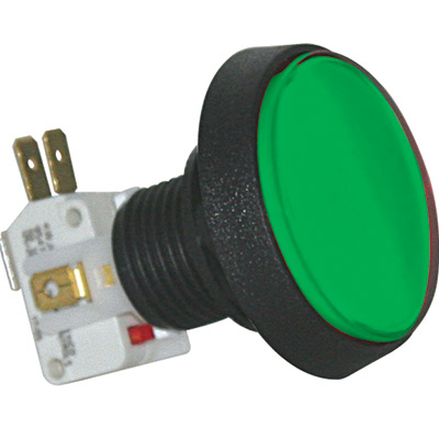 Green Medium Round Green IPB w/ .250 Microswitch #161 - D54-0004-63 - Item Photo
