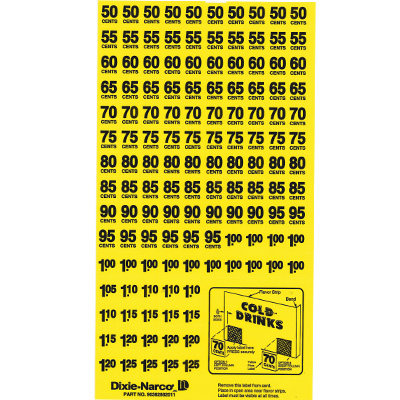 Price Label Sheet for Dixie Narco - H90382882011DN - Item Photo