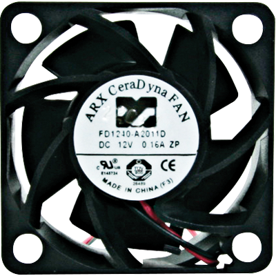 "Cooling Fan, 1.37""x 1.37""x 0.59"", 12 V, 2 Wire, Sleeve Bearing, W/ Connector (2 pin) - FAN-DC12V-40-40 - Item Photo"