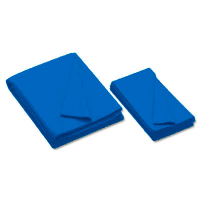 26-0493-437 - Championship Invitational, Electric Blue, 20 oz., Pre- Cut Cloth, 7 Ft. Table, Teflon, Unbacked
