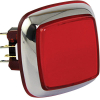 """Casino Chrome"" Large, Red, Square Illuminated Pushbutton w/ Chrome Bezel - RBM-730S-A22"
