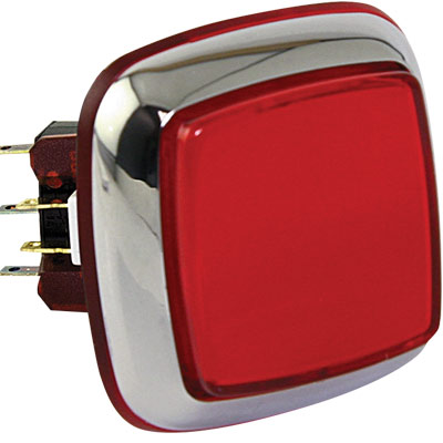 "Red large ""Casino Chrome"" Square IPB w/ Chrome Bezel - RBM-730S-A22 - Item Photo"