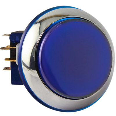 """Casino Chrome"" Small, Round Blue Illuminated Pushbutton with Chrome Bezel - RBM-730S-F66 - Item Photo"